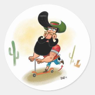 Hipster Cowboy Round Sticker