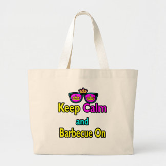 Hipster Crown Keep Calm And Barbeque On Canvas Bag