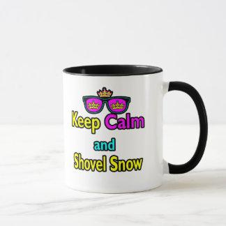 Hipster Crown Sunglasses Keep Calm And Shovel Snow Mug