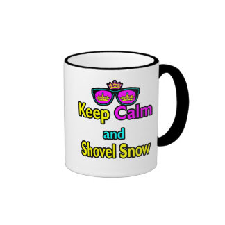 Hipster Crown Sunglasses Keep Calm And Shovel Snow Coffee Mug