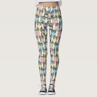 Hipster Cute Cats Pattern Leggings