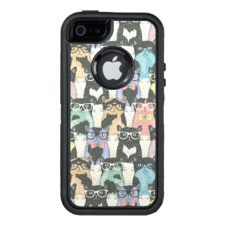 Hipster Cute Cats Pattern OtterBox iPhone 5/5s/SE Case