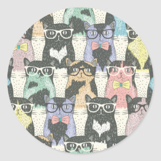 Hipster Cute Cats Pattern Round Sticker