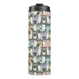 Hipster Cute Cats Pattern Thermal Tumbler