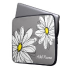Hipster Daisy Drawing - grey yellow Laptop Sleeve