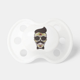 Hipster Day of the Dead Skull Baby Pacifier
