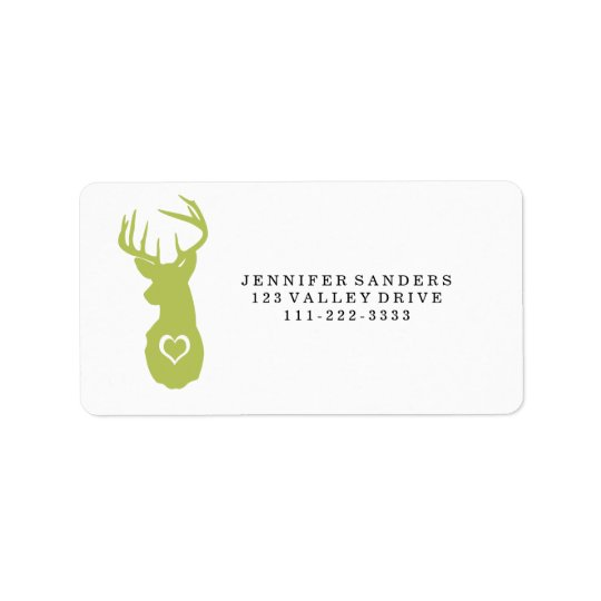 HIPSTER DEER HEAD WITH HEARTS ADDRESS LABEL
