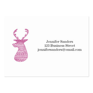 HIPSTER DEER TRIBAL PRINT - PINK PACK OF CHUBBY BUSINESS CARDS