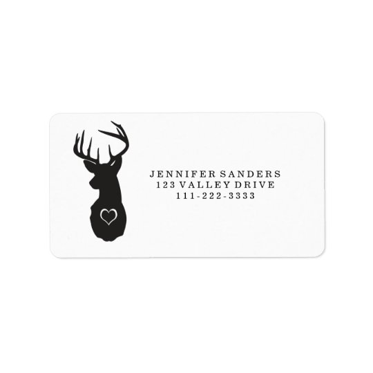 HIPSTER DEER WITH HEARTS ADDRESS LABEL