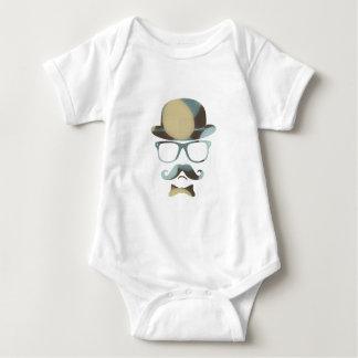 Hipster derby moustache glasses pop art 1 7 baby bodysuit