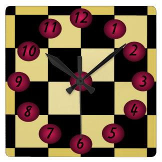Hipster Diner Cafe Kitchen Clock Checkerboard