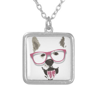 Hipster dog silver plated necklace