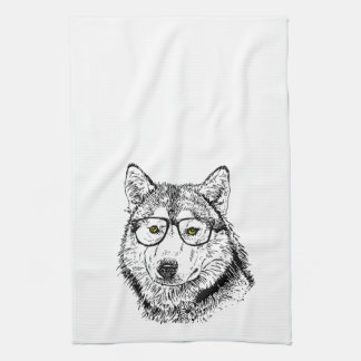 Hipster Dog Tea Towel