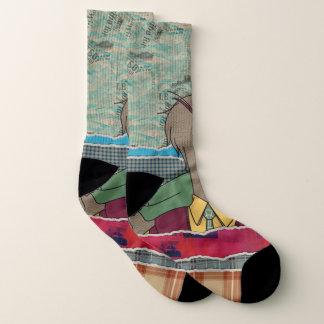 Hipster Duck mixed media digital art collage Socks