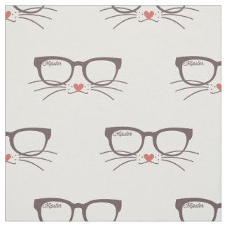 Hipster Eyeglasses, Cat Whiskers Fabric