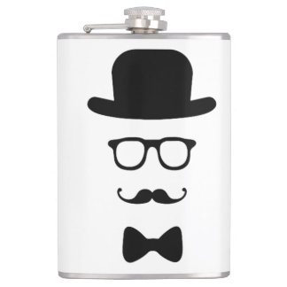 Hipster Face Vinyl Wrapped Flask
