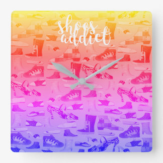 Hipster Fashion Neon Modern Retro Shoes Addict Square Wall Clock