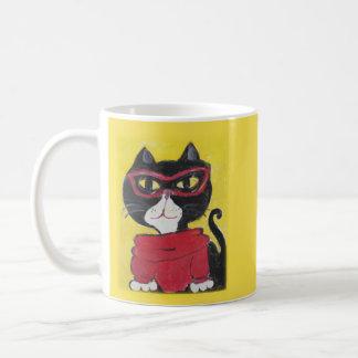 Hipster Folk Art Turtleneck Cat Coffee Mug