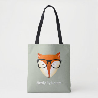 Hipster Fox Funny Nerdy By Nature Quote Tote Bag