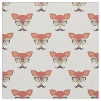 Hipster Fox, Glasses and Mustache Fabric