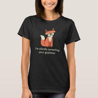 Hipster Fox  Grammar Black T-Shirt