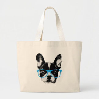 Hipster French Bulldog Nerdy Dog Jumbo Tote Bag