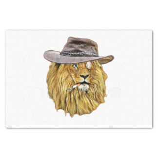 Hipster Funny Lion Cat Tissue Paper