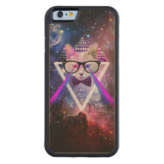 Hipster galaxy cat carved maple iPhone 6 bumper case