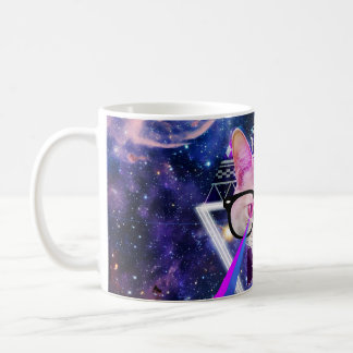 Hipster galaxy cat coffee mug
