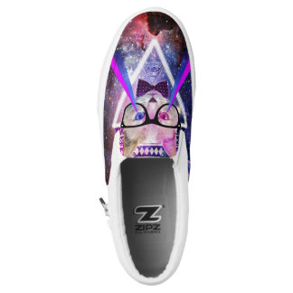 Hipster galaxy cat printed shoes
