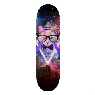 Hipster galaxy cat skateboard decks