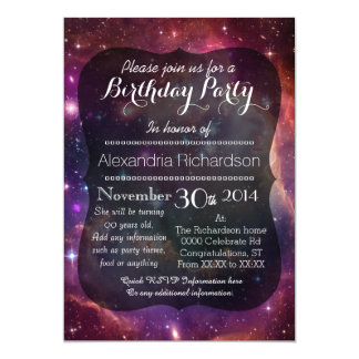 Hipster galaxy outer space birthday party card