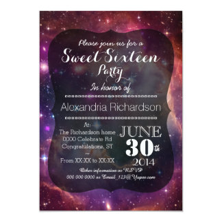 Hipster Galaxy space background Sweet Sixteen 13 Cm X 18 Cm Invitation Card