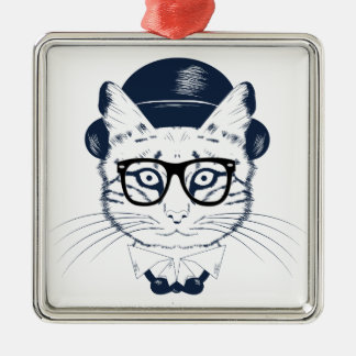Hipster Geek Cat Silver-Colored Square Decoration