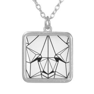 Hipster Geometric Panda Silver Plated Necklace