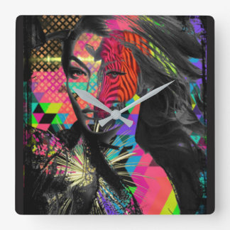 Hipster Gigi Abstract dark yet colourful clock
