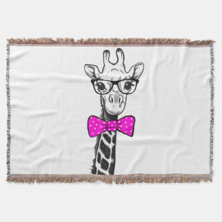 Hipster Giraffe Throw Blanket
