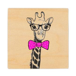 Hipster Giraffe Wood Coaster