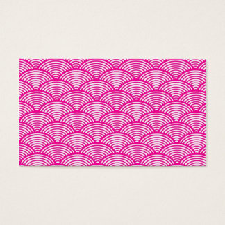 Hipster Girly Pink Japanese Wave Pattern Business Card