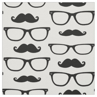 Hipster Glasses and Mustache Fabric