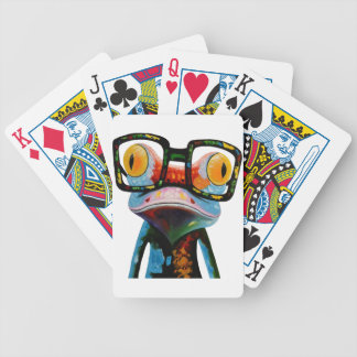 Hipster Glasses Frog Bicycle Playing Cards