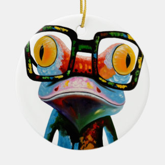 Hipster Glasses Frog Ceramic Ornament