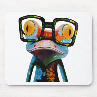 Hipster Glasses Frog Mouse Pad