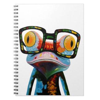 Hipster Glasses Frog Notebooks