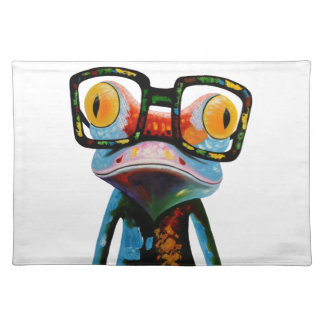 Hipster Glasses Frog Placemat