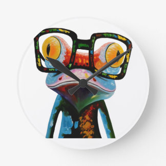 Hipster Glasses Frog Round Clock