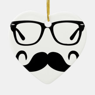 Hipster Glasses & Handlebar Mustache Ceramic Ornament