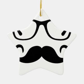 Hipster Glasses & Handlebar Mustache Ceramic Ornament