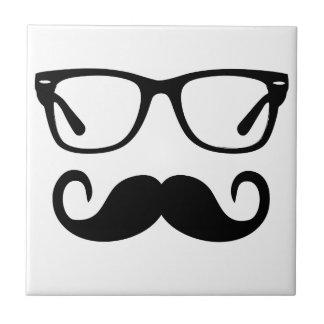 Hipster Glasses & Handlebar Mustache Ceramic Tile