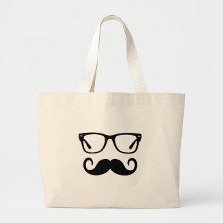 Hipster Glasses & Handlebar Mustache Large Tote Bag